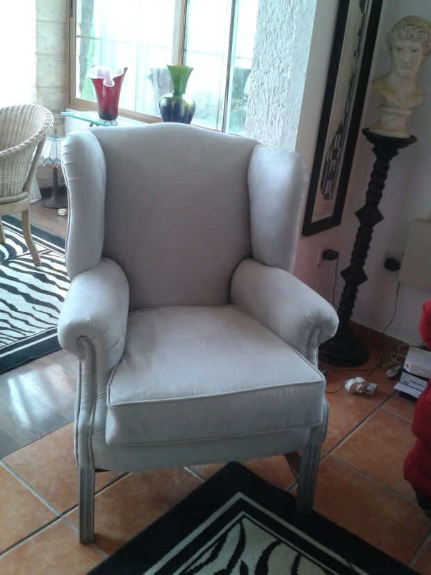 Grey faux suede chair